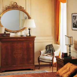 Walnut chest of drawers with marquetry, gold leaf mirror. 800 francese classic luxury collection