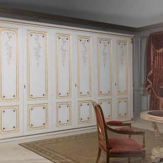 armadio componibile, armadio classico, guardaroba classici componibili, intagli dorati, armadio con pilastro, guardaroba con pilastri, mobili dorati, intagliati
