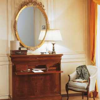 Walnut trumeau with marquetry, gold leaf mirror. Luxury classic furniture collection 800 francese
