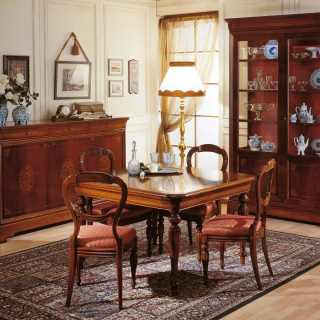 800 francese style dining room: inlayed walnut sideboard and glass showcase, extensible square table, carved chairs