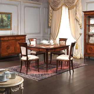 Maggiolini style classic dining room. Walnut and olivewood extensible table, chairs, sideboard and glass showcase. Handmade marquetry