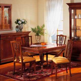Walnut dining room Carlo X style: inalyed and carved table, carved chairs, sideboard and glass showcase