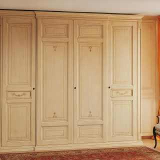 Classic wardrobe Canova, four doors. Anticated lacquered finish. handmade in Italy