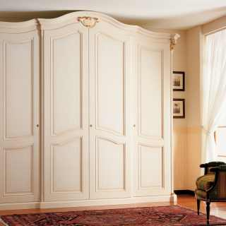 Classic four doors wardrobe Settecento collection with carvings, pillars and golden capitals