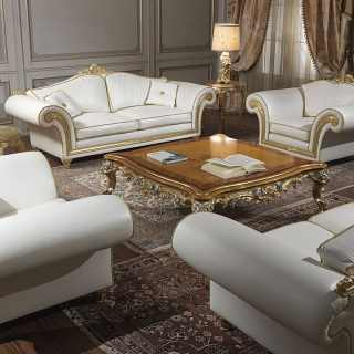Classic living room Imperial with carved sofas and armchairs, white leather finish