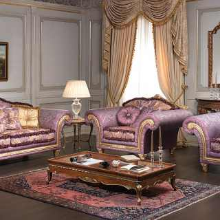 Classic living room Imperial, purple fabric finish, with golden and carved details and cymatium. Walnut carved coffee table