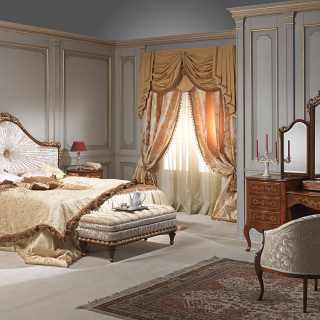 Classic bedroom Louvre with bed, night table, bench and dressing table with mirror