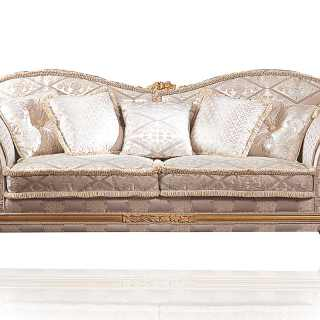 Classic sofa Excelsior with wave shape. Carved and golden details and cymatium. Ivory fabric finish