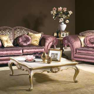 Classic living room with sofa and armchair Majestic, purple and flower fabric finish