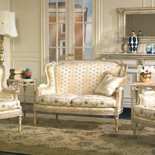 Classic living room San Marco collection, ivory fabric finish,carved details, white over gold finish
