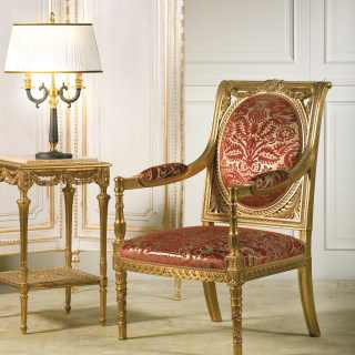 Classic armchair Versailles, carved and golden wood, red fabric