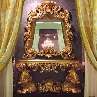 Carved console 600 italiano baroque style with wall mirror, black marble top