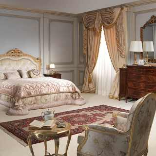 Classic luxury bedroom 800 francese, capitonné bed, gold leaf finish, walnut chest of drawers and night tables, wall mirror