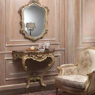 Carved classic console with marble top, carved wall mirror, gray patinated gold leaf finish
