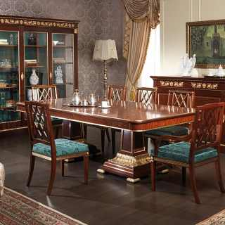 Ermitage dining room impero style: mahogany table and chairs, gold leaf details; mahogany glass showcase and sideboard, brass decorations