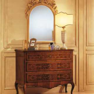 Walnut classic chest of drawers, wall mirror with handmade golden carvings, all from the classic furniture Louvre collection