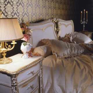 Classic bed and night table, Luigi XVI style