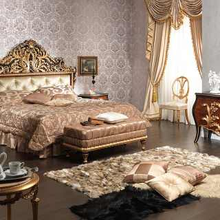 Classic bedroom Emperador Black, carved wood, black and gold leaf finish, carved bed, carved night table, upholstered capitonné bench, wall mirror, chest of drawers