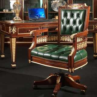 Classic swivel armchair Impero style: carved mahogany and gold leaf details, upholstered leather