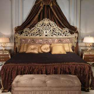 Classic bed Emperador Gold, Luigi XV style, handmade carved wood, made in Italy