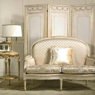 Classic sofa Rialto collection, ivory fabric finish, carved details, white over gold finish. Carved screen and coffee table
