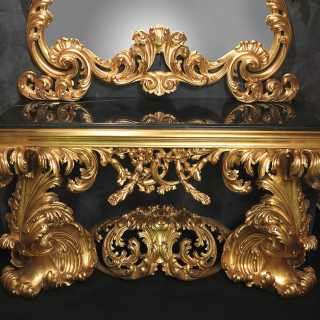 Carved console 600 italiano baroque style, black marble top