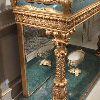 Carved console with green Guatemala marble top, carved columns golden finish