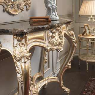 Carved classic console with marble top, carved wall mirror, white over gold finish