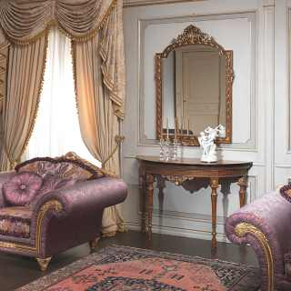 White lacquered boiserie with golden details