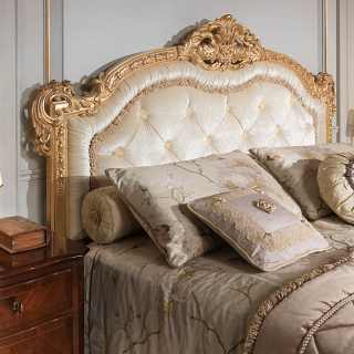 Classic luxury bed 800 francese, capitonné headboard bed in gold leaf, walnut night table