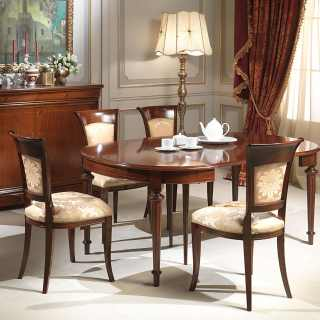 Walnut table extensible till cm 255 with 4 extensions, with marquetry