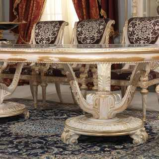 White and Gold classic luxury collection, Luigi XVI style: oval table with carved chairs, all white over gold finish