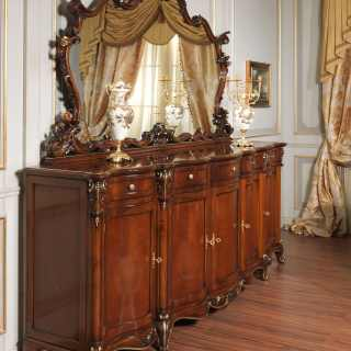 Parigi sideboard, Luigi XV style, with big carved mirror. Walnut and gold finish. Luxury classic furniture made in Italy