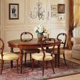 Inlayed walnut table 800 francese style, carved walnut chairs. Handmade in Italy