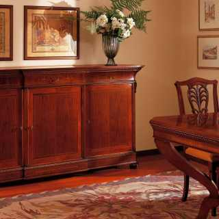 Classic luxury furniture made in Italy: inlayed and carved sideboard and table Carlo X style