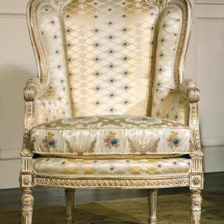Classic armchair San Marco collection, ivory fabric finish,carved details, white over gold finish