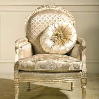 Classic armchair Rialto collection, ivory fabric finish, carved details, white over gold finish.