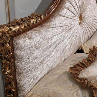 Classic bed Louvre wooden carvings with gold leaf,