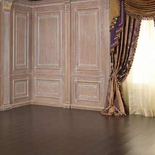Classic boiserie with columns, carved and golden capitals and details