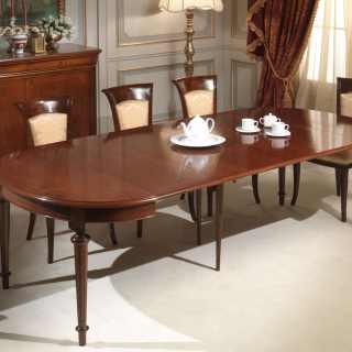 Oval walnut table extensible till cm 255 with 4 extensions, fully extended