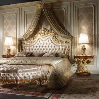 Elegant baroque bed, carved baroque night tables, wall tester and bench