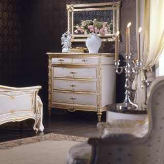Classic bedroom Luigi XVI style, carved chest of drawers