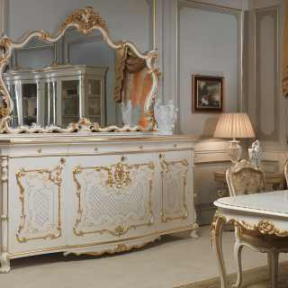 Luigi XV style dining room: carved sideboard with mirror, carved table and chairs. All lacquered and gold, Venezia classic furniture collection