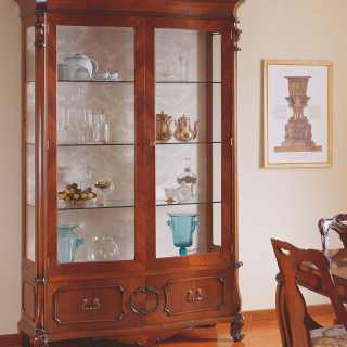 Classic showcase 700 siciliano style, handmade carvings, walnut finish