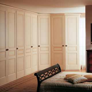 Classic wardrobe with corner element, made in Italy