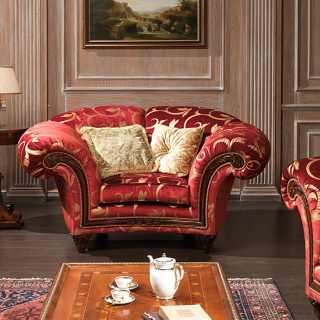 Classic living room Palace, red and gold fabric finish, composed by armchair with carved walnut details and a carved and inlayed table