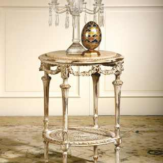 Classic carved coffee table, white on gold finish