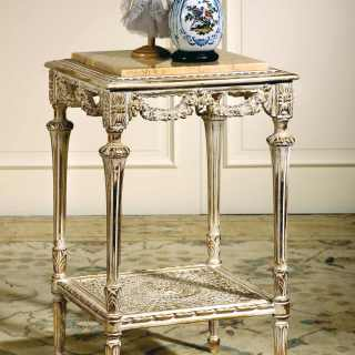 Square coffee table classic style with rich handmade carvings and white over gold finish