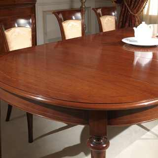 Oval walnut table extensible till cm 255 with 4 extensions, detail