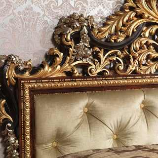 Classic bedroom Emperador Black, carved and capitonné bed, black and gold leaf, flower carvings